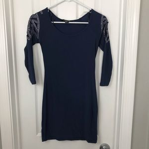 Navy Diamanté Quarter Sleeve Forever 21 Dress